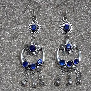 New! Genuine Iolite .925 Stamped hook earrings